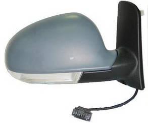 Левое зеркало Вольксваген Шаран -10 электрический привод; с обогревом; складывающееся; под покраску; асферическое; с указ. поворота; без подсветки /