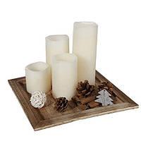 Набор рождественский: подставка и 4 свечи