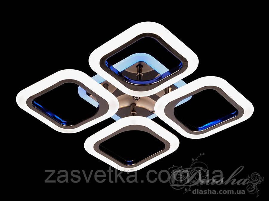 Потолочная люстра с диммером и LED подсветкой, цвет чёрный хром, 55W AS8060/4BHR LED 3color dimmer