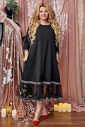 Платье женское снизу украшенное сеткой, черное. Размеры: 50, 52, 54, 56