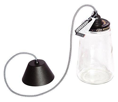 Підвіска Pickle Light з великою стельової кришкою, скло / метал, чорний / білий