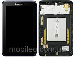 Дисплей (LCD) для планшета Lenovo IdeaTab A3500 с тачскрином и рамкой black orig