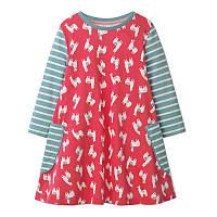Легкое детское платье для девочки Ламы