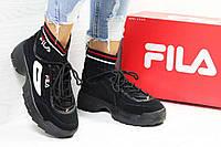 Кроссовки женские c носком черные Fila 5854