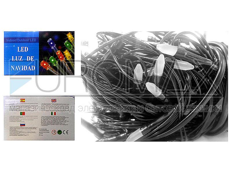 Гирлянда с черным проводом и матовой лампой 100LED (микс) 100шт LED100M-3