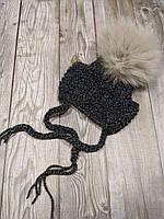 Шапка для собак ручной вязки с бубоном размер серая