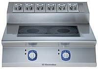 Индукционная плита верхнего расположения 2 фронтальные зоны нагрева с подставкой для приправ