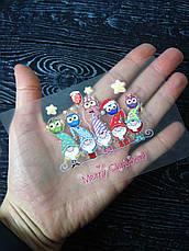 Термо наклейка, трансфер, наклейка на одежду Новогодние гномы с совами, 7х7 см, фото 3