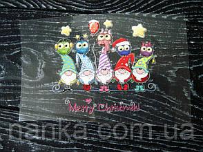 Термо наклейка, трансфер, наклейка на одежду Новогодние гномы с совами, 7х7 см, фото 2