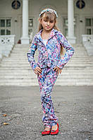 Костюм двойка для девочки пиджак и брюки Сирень