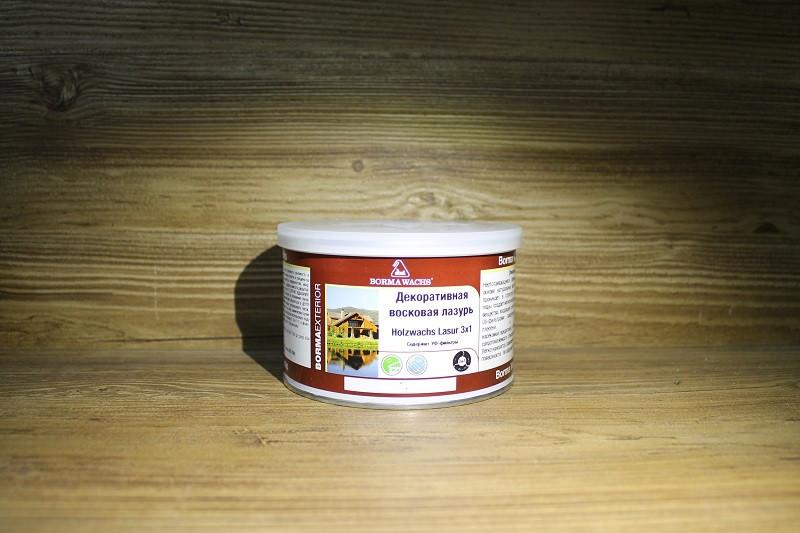 Масляная морилка с воском, темный махагон (33), Holzwachs Lasur 375 мл., Borma Wachs