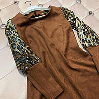 Женское .стильное платье  Венеция,ткань плотный замш на дайвинге.,размеры 48,52 коричневый, сукня