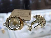 Сережки срібні з золотими вставками і культивированым перлами, фото 1