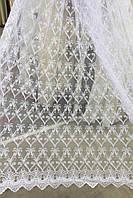 Тюль фатин белый с кордовой нитью