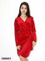 Платье красное нарядное бархатное на запах 42 44 46, фото 1