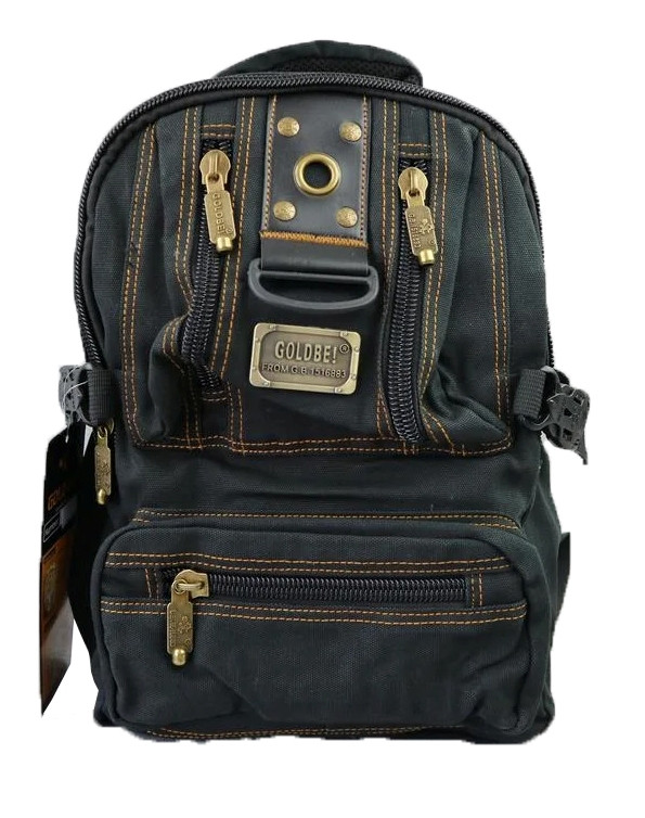 Брезентовый городской мужской рюкзак GOLD BE 1305 V-20 л. чорний ( 35х25х25 см. V-20 л.)