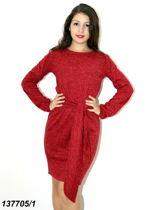 Платье красное ангоровое с поясом 42 44 46