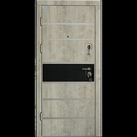 Входная дверь Very Dveri Цезарь Бетон с Черной матовой вставкой и молдингами 850х2030
