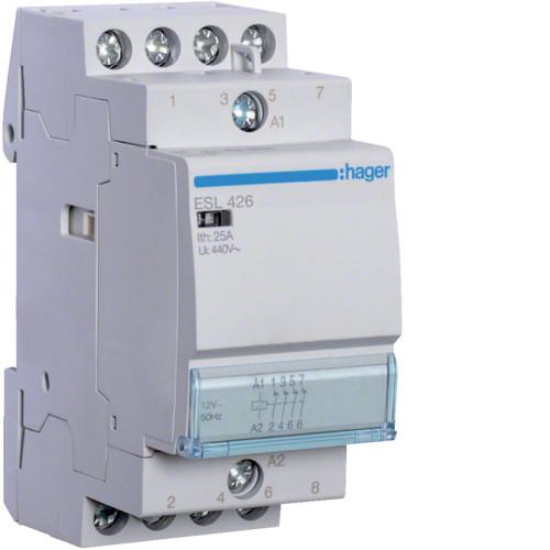Контактор Hager 25A 4НЗ 12В (ESL426)