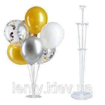 Подставка для 7 шаров прозрачная пластиковая 70см. (палочки цельные)