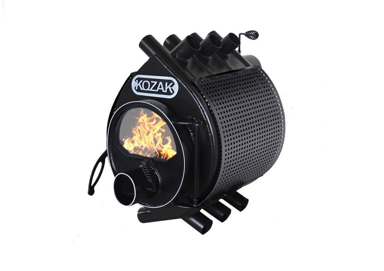 Печь-булерьян Kozak Тип 01 - 200 м3 с стеклом и защитным кожухом