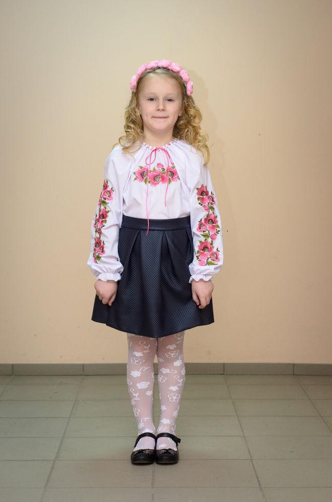 Вышиванка детская  Волинські візерунки Мальвы 134 см белая