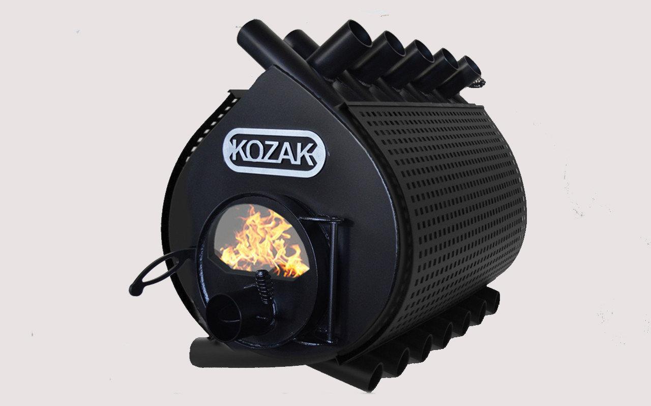 Печь-булерьян Kozak Тип 04 - 1000 м3 с стеклом и защитным кожухом