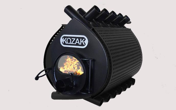 Печь-булерьян Kozak Тип 05 - 1200 м3 с стеклом и защитным кожухом, фото 2