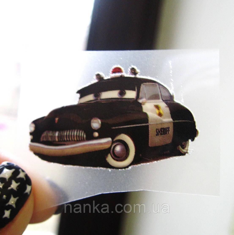 Термо наклейка, трансфер, наклейка на одежду Машина Тачки Шериф, 2,3х4 см