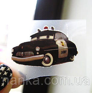 Термо наклейка, трансфер, наклейка на одежду Машина Тачки Шериф, 2,3х4 см, фото 2