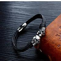 Мужской кожаный браслет с черепами, фото 1