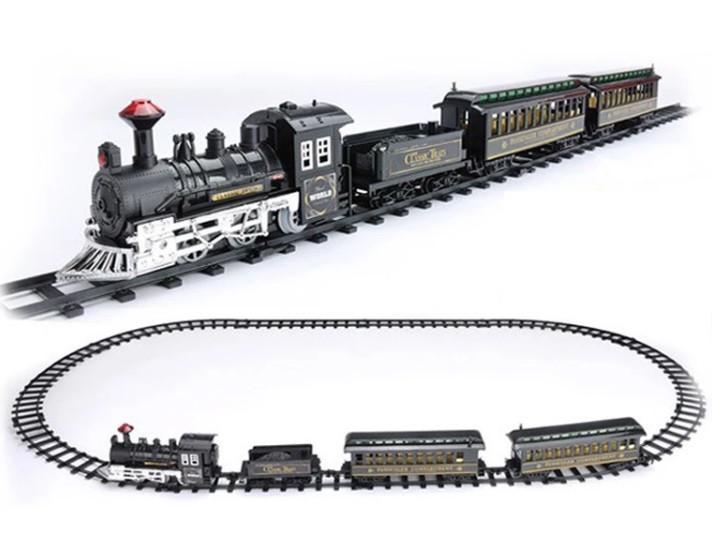Детская игрушечная железная дорога поезд звук, свет прожектора 75-135см