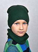 Арктик классик шапка. Двойная х/б 60%. Унисекс. р52-56 (5-12 лет) т.зеленый, т.серый, т.синий, электрик