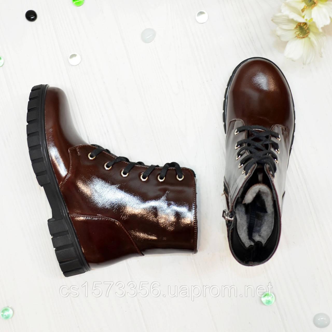 Ботинки кожаные подростковые на утолщённой подошве