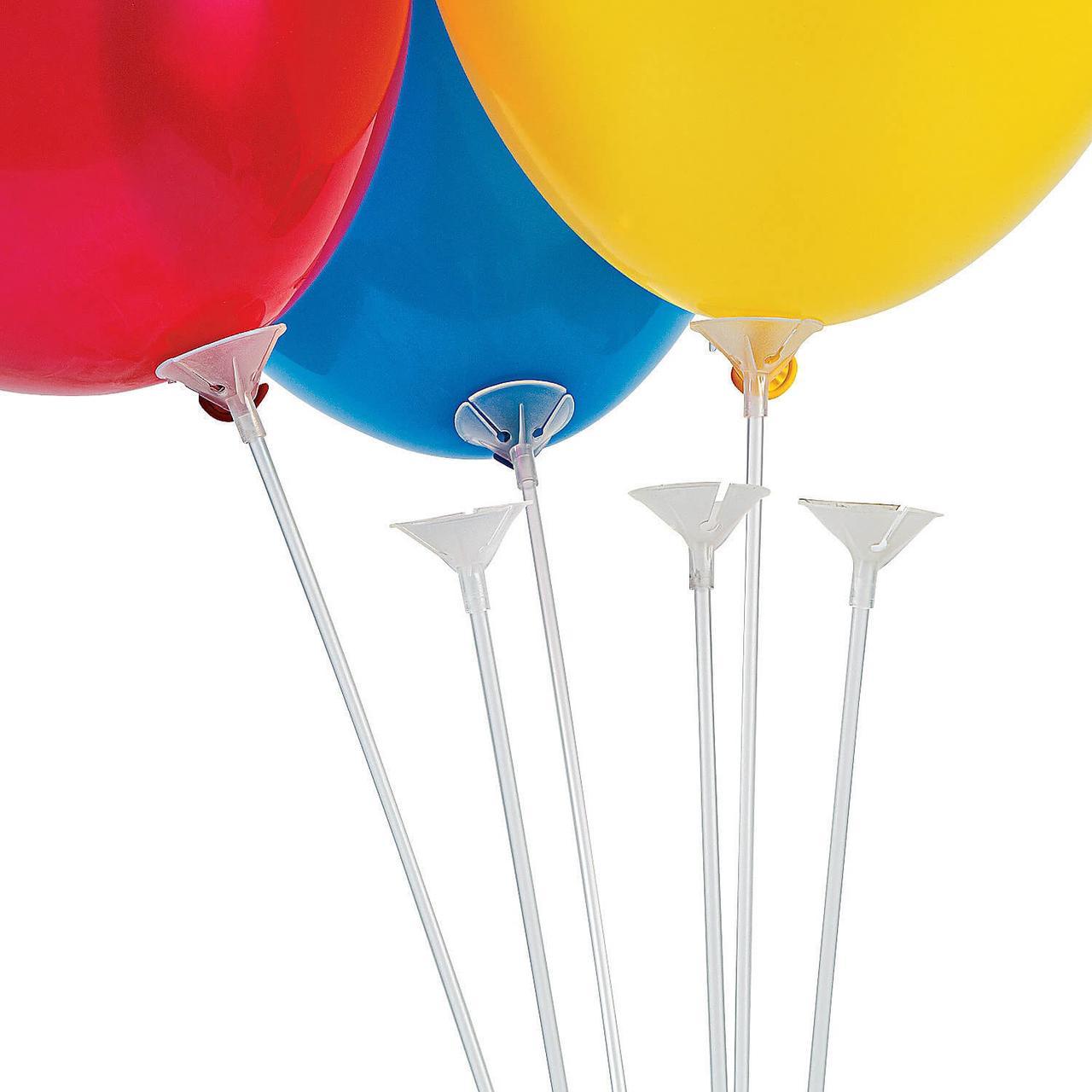 Палички тримач з насадкою для надувних повітряних кульок 30 см білі 1462