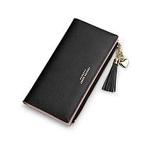 Женский черный кошелек с кисточкой код 367