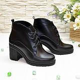 Стильные женские кожаные ботинки демисезонные на устойчивом каблуке, фото 4