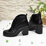 Стильные женские кожаные ботинки демисезонные на устойчивом каблуке, фото 3