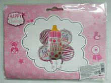 Набор фольгированных шаров бутылка розовая C 31797 в пакете