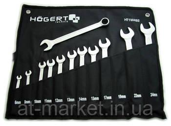Набор комбинированных ключей 6-24 мм, 12 шт., сталь CrV, DIN 3113 HOEGERT HT1W492