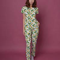 Хлопковая Женская пижама футболка и штаны для дома и сна авокадо