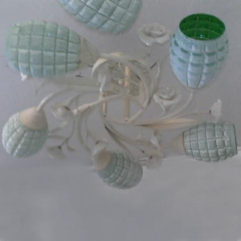 Люстра, 5 ламп, зеленые плафоны, белая