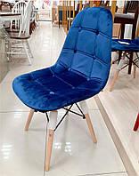 Стул Pixel (Пиксель) синий велюр на деревянных ножках, скандинавский стиль, дизайн Charles Eames