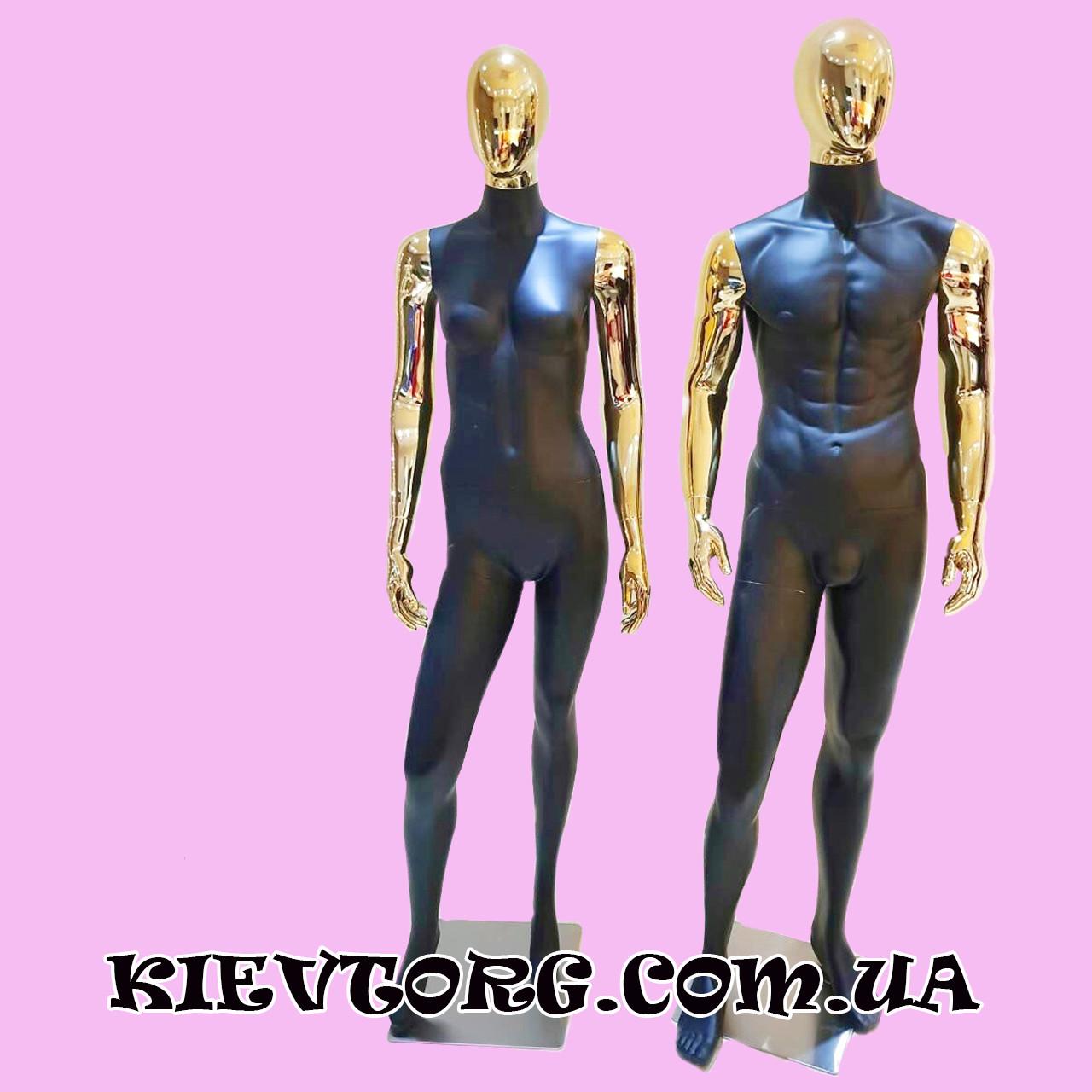Манекен женский гипсовый матовый черный с золотыми руками для одежды