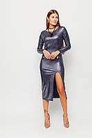 Вечернее облегающее платье с разрезом размеры от 42 до 48, трикотажное синее