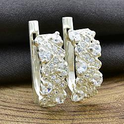"""Серебряные серьги """"Венок"""", размер 17*7 мм, вставка белые фианиты, вес 3.4 г"""