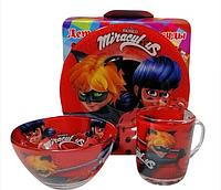 """Набор детской посуды """"Леди Баг""""  Lady Bug Miraculous, 3 предмета"""