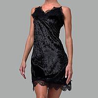 Женская ночнушка мраморный велюр M-7059 черная