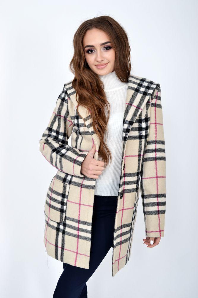 Пальто женское 104R1261 цвет Бежево-черный размер S