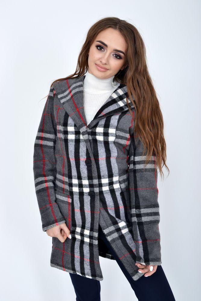 Пальто женское 104R1261 цвет Серо-черный